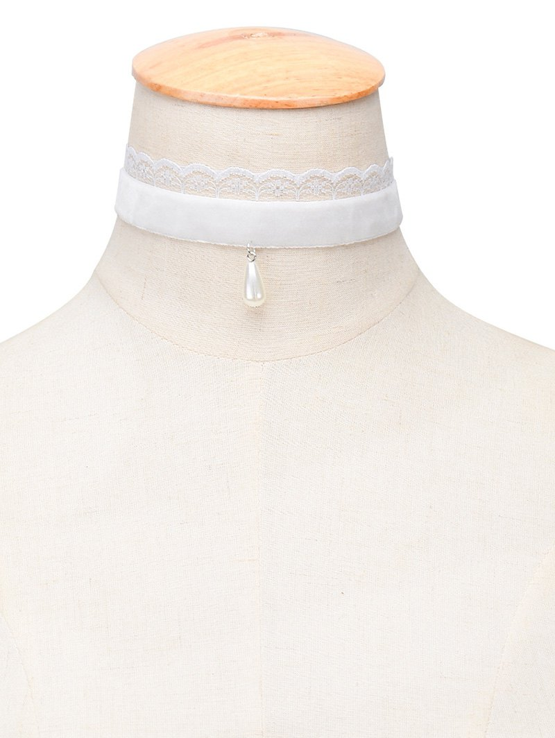 Faux Pearl Water Drop Velvet Choker