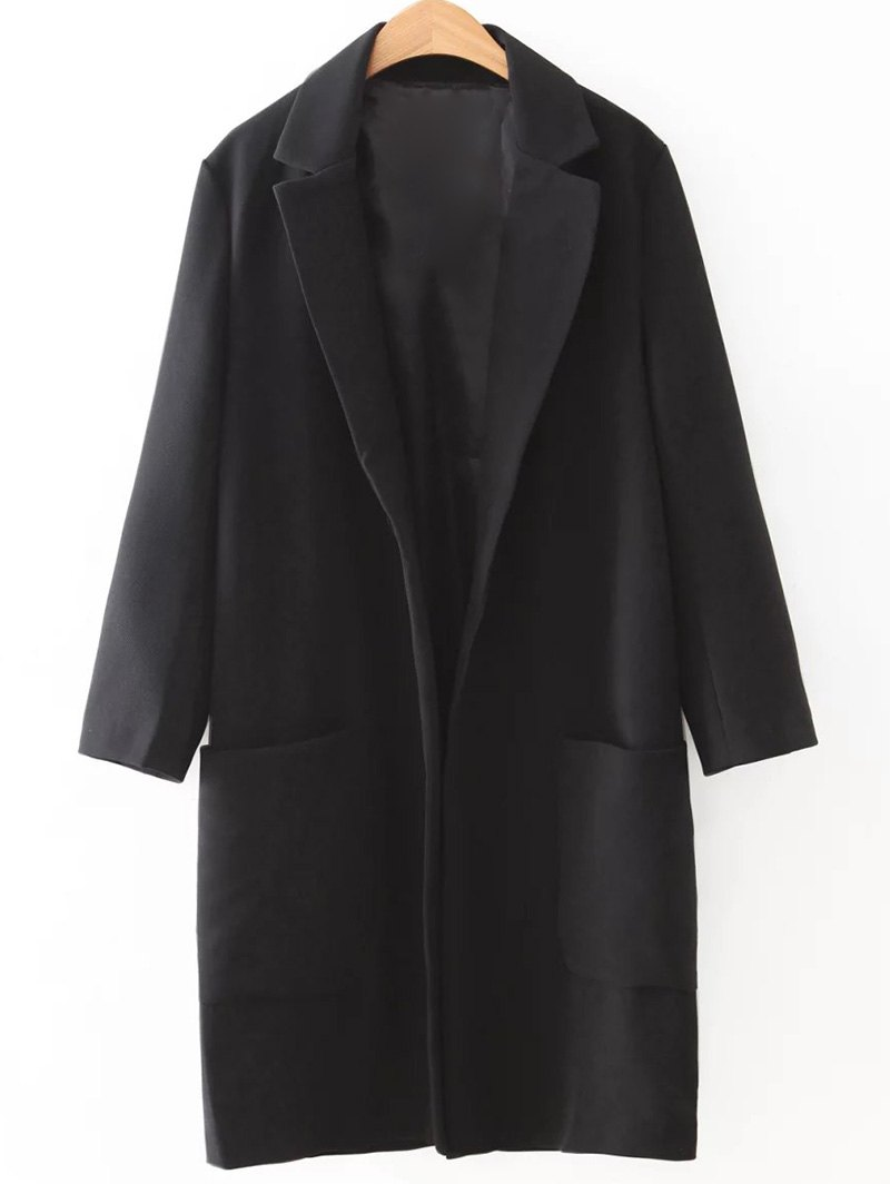 Lapel Collar Long Sleeve Long Coat