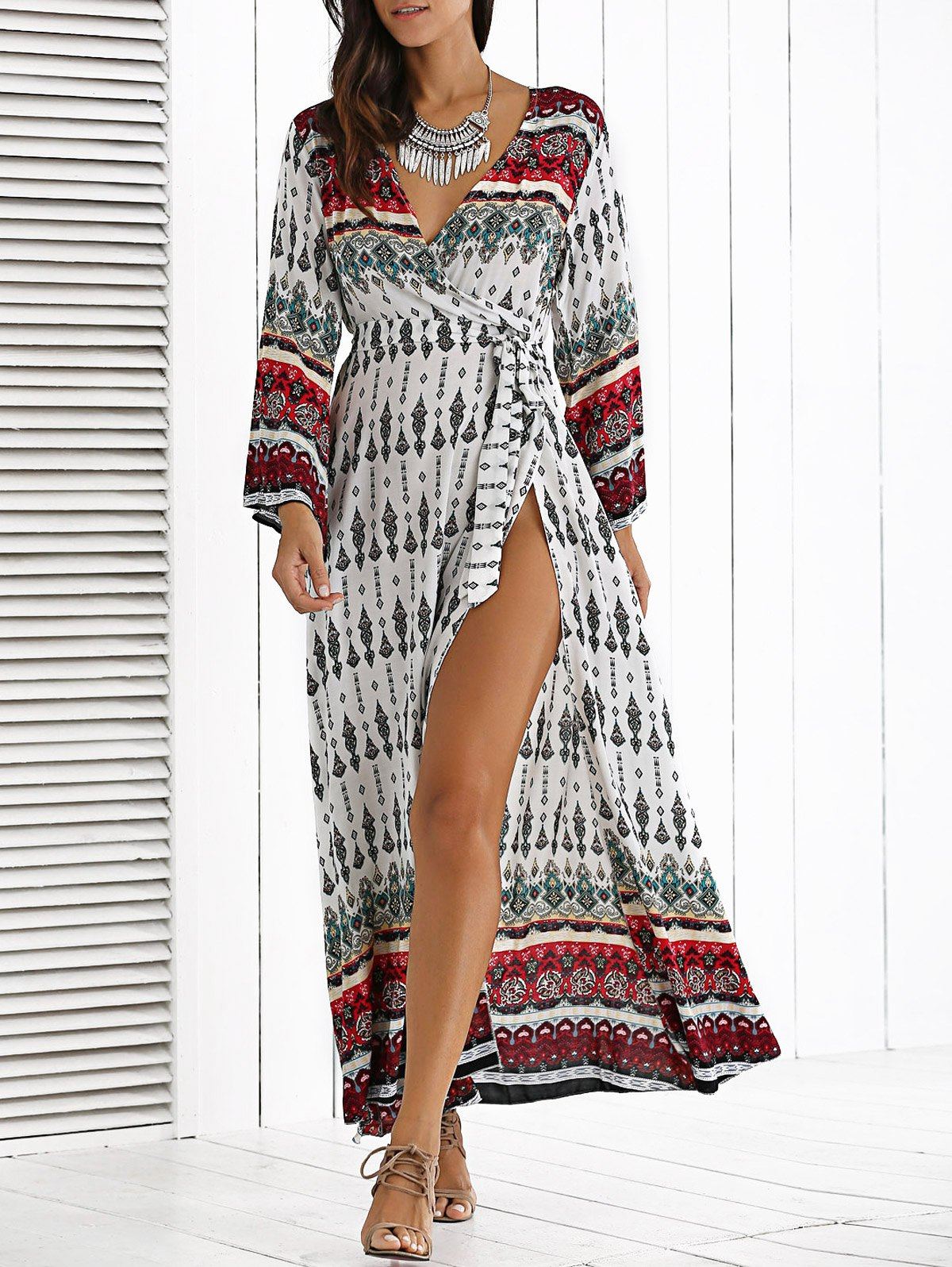 Deep V Neck Long Sleeve Bohemian Dress With Belt