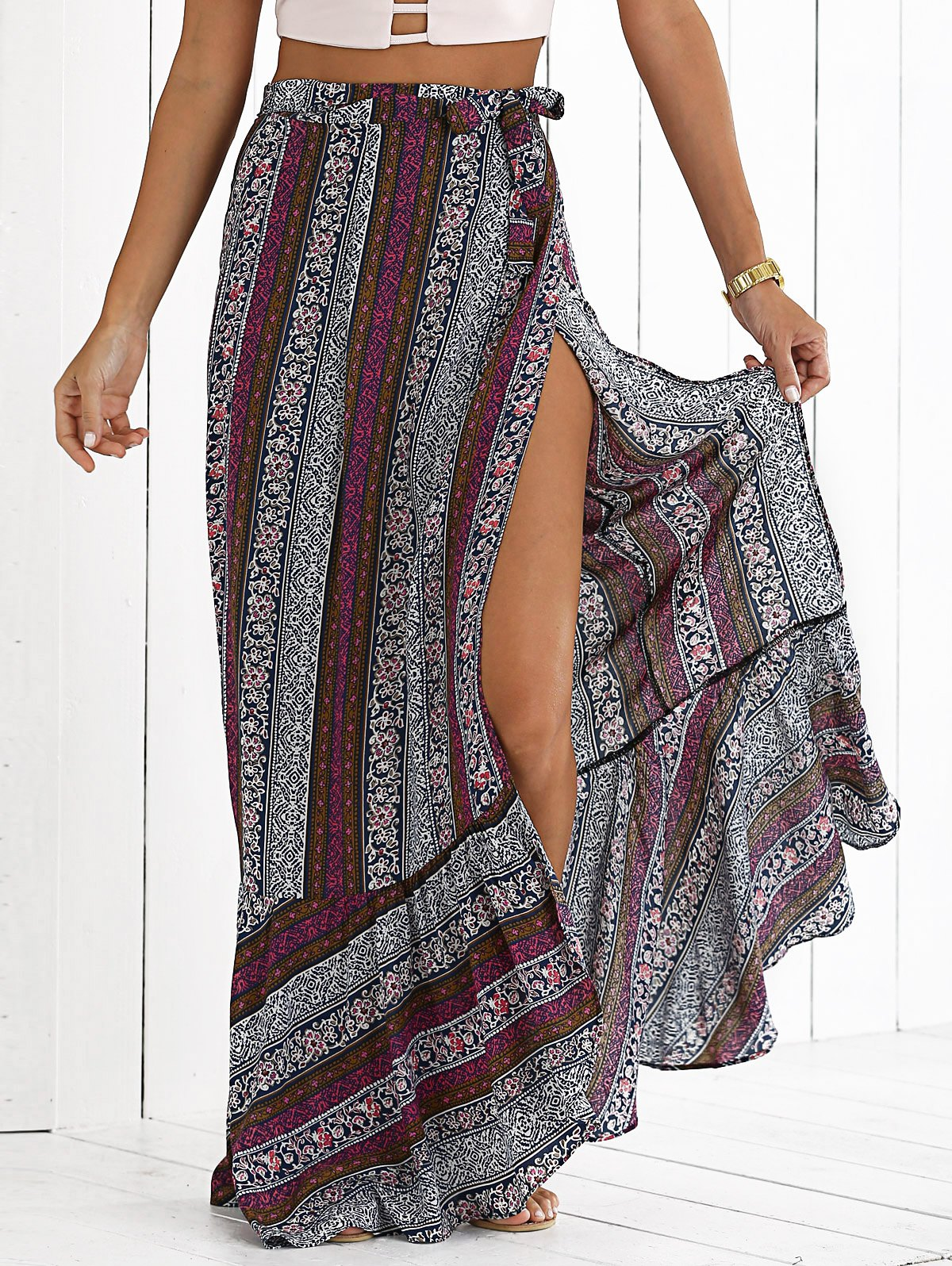 Bohemian High Slit Printed Skirt