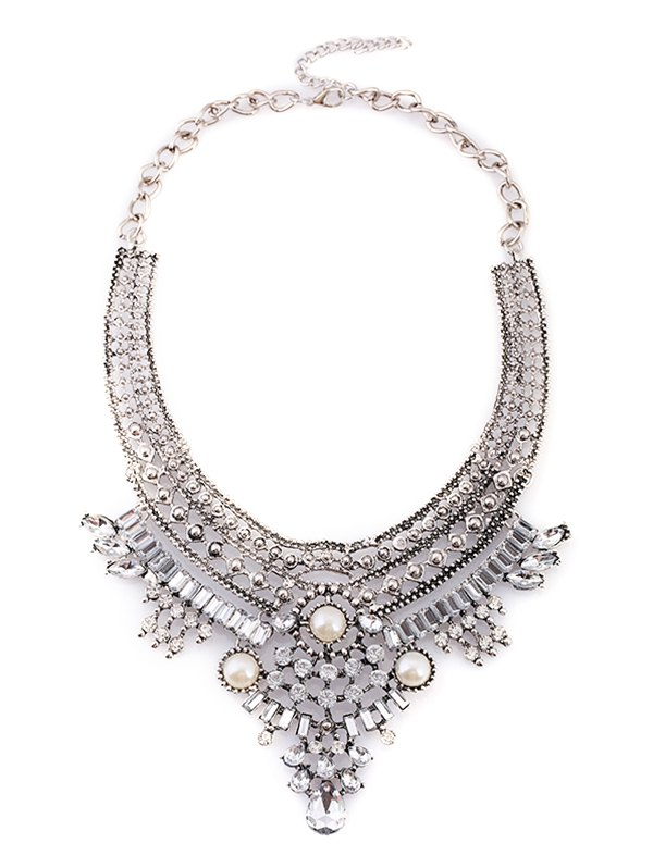 Alloy Faux Pearl Rhinestone Geometric Necklace 193777401