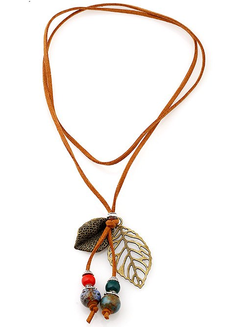 Faux Leather Leaf Beaded Pendant Choker
