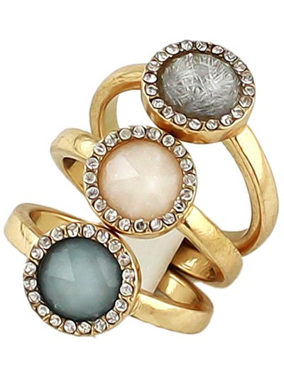 Faux Opal Round Jewelry Set Rings