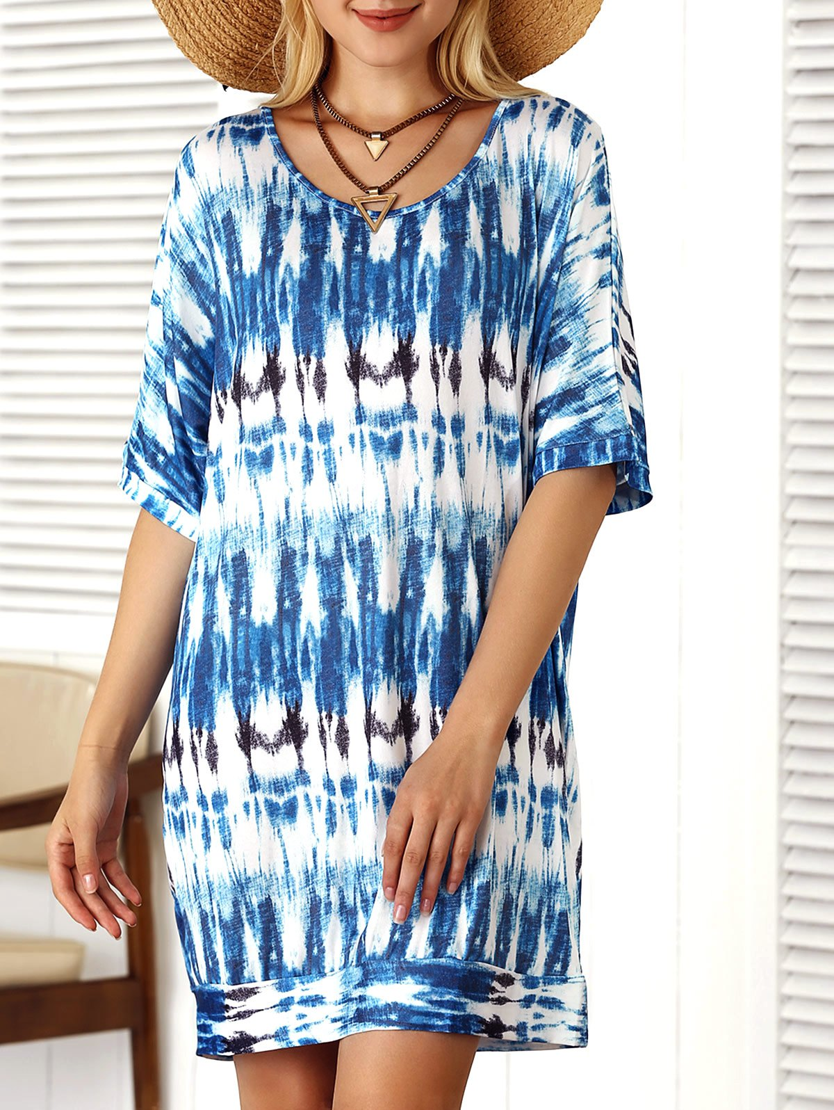Scoop Neck Short Sleeve Loose Tie-Dyed Dress