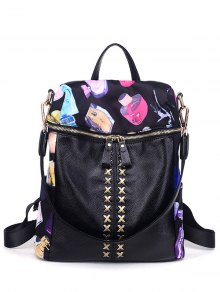 Cross Splicing Print Backpack
