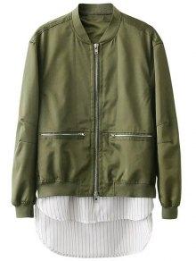 Buy Zipped Layered Hem Jacket M GREEN
