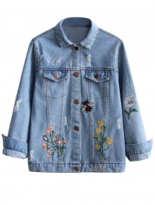 Embroidered Ripped Denim Jacket - Light Blue