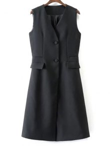 V Neck Two Buttons Long Waistcoat - Black
