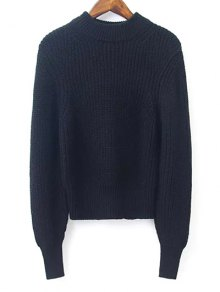 Lantern Sleeve Mock Neck Cropped Sweater