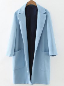 Pockets Lapel Collar Long Coat - Light Blue S