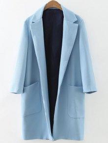 معطف طويل بياقة  متجعدة ذو أكياس - الضوء الأزرق M