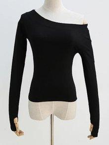 Sloping Shoulder Long Sleeve T-Shirt