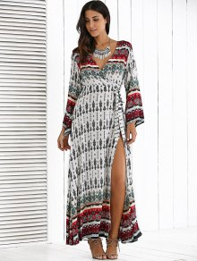 Long Sleeve Furcal Maxi Dress - WHITE ONE SIZE
