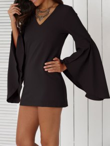 Solid Color Plunging Neck Flare Sleeve Sheath Sexy Mini Dress