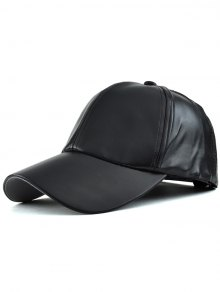 Faux Leather Baseball Hat - Black