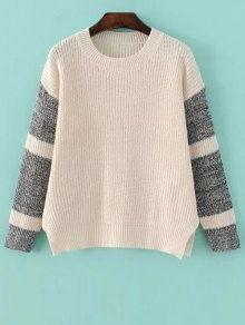 Side Slit Color Block Sweater - Light Apricot