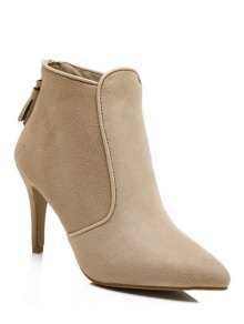 Buy Flock Tassels Zipper Ankle Boots - APRICOT 39