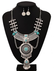 Rhinestone Faux Turquoise Coins Jewelry Set