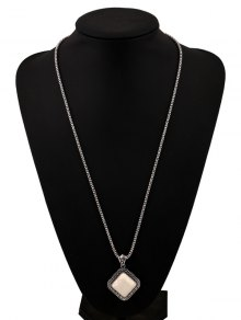 Faux Rammel Pendant Geometric Sweater Chain