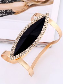 Rhinestone Alloy Layered Leaf Cuff Bracelet - Black