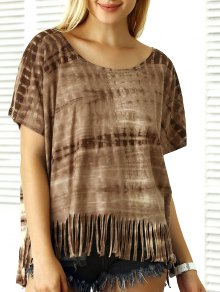 Buy Tie-Dyed Batwing Sleeve Fringe T-Shirt - COFFEE XL