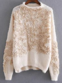Floral Applique Pullover Sweater