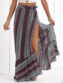 High Slit Bohemian Printed Maxi Skirt - L