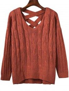 Crisscross Back V Neck Sweater