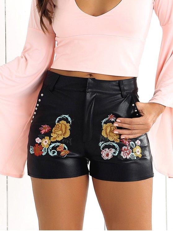 Pantalones cortos de flores bordado PU - Negro S