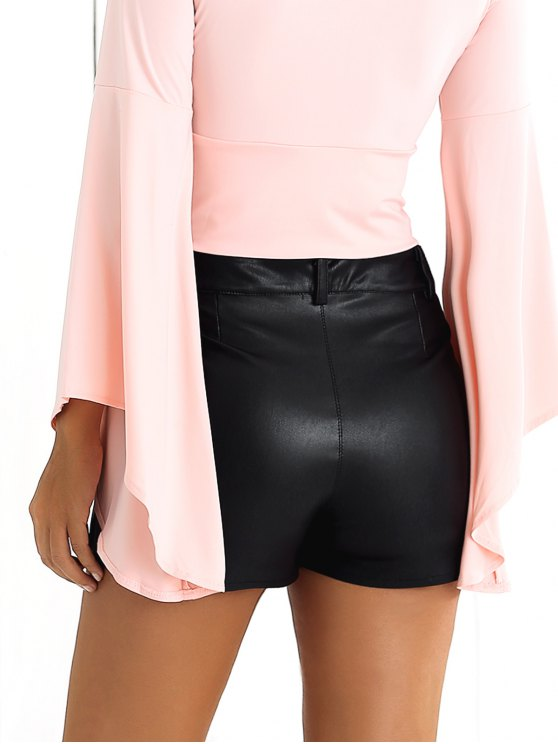 Floral Embroidered PU Shorts - BLACK S Mobile