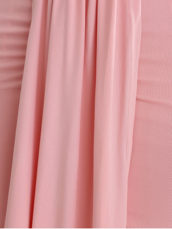 Low Cut Draped Party Wear Tulip Dress - PINK L Mobile