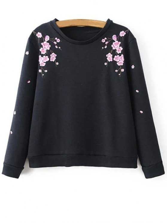 fashion Titoni Embroidered Sweatshirt - BLACK M