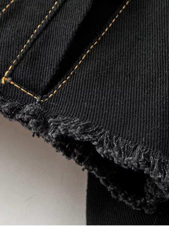 Buttons Frayed Denim Jacket - BLACK L Mobile