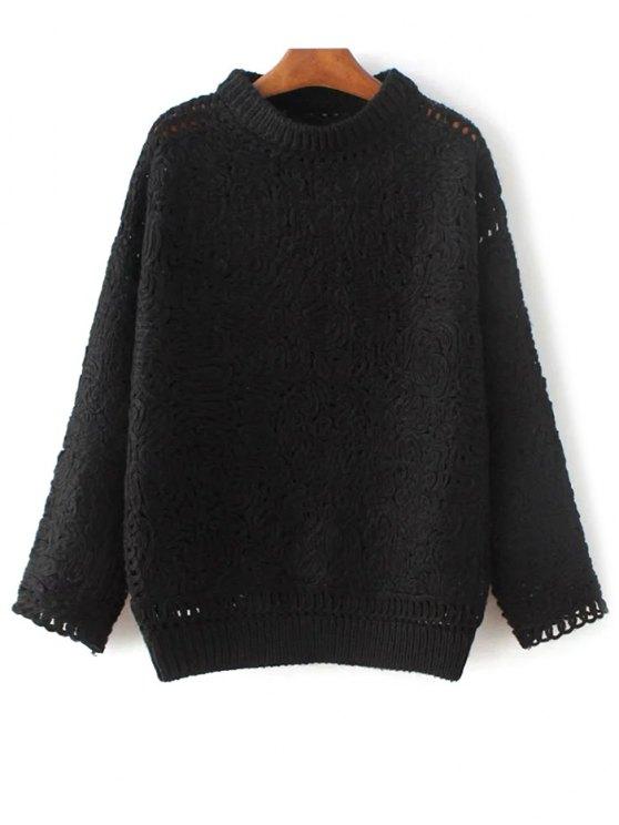 Ganchillo suéter de cuello alto - Negro Única Talla