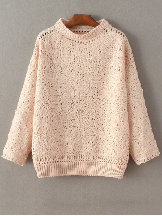fashion High Neck Crochet Sweater - PINK ONE SIZE