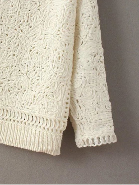 High Neck Crochet Sweater - PINK ONE SIZE Mobile