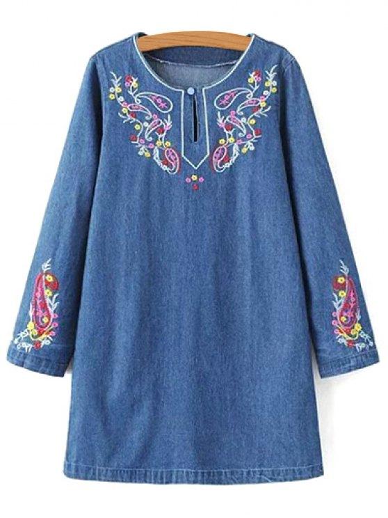 affordable Embroidered Denim Long Sleeve Dress - DENIM BLUE M