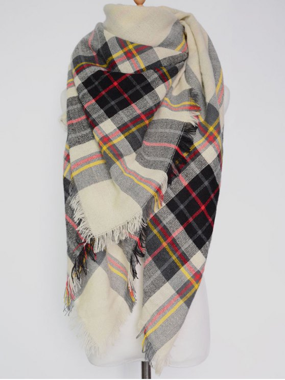 trendy Plaid Pattern Fringed Square Scarf - OFF-WHITE