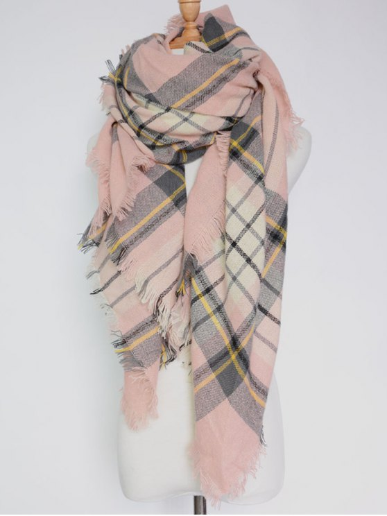 De la tela escocesa con flecos Fular - Rosa