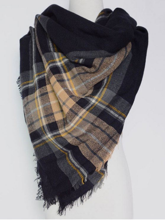 Plaid Pattern Fringed Square Scarf - BLACK  Mobile