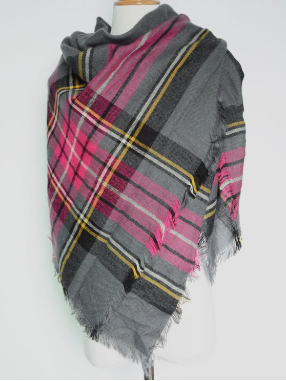 Plaid Pattern Fringed Square Scarf - DEEP GRAY  Mobile