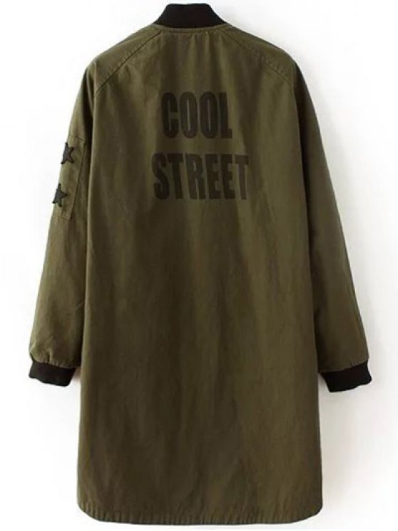 Letter Pattern Stand Neck Coat - ARMY GREEN S Mobile