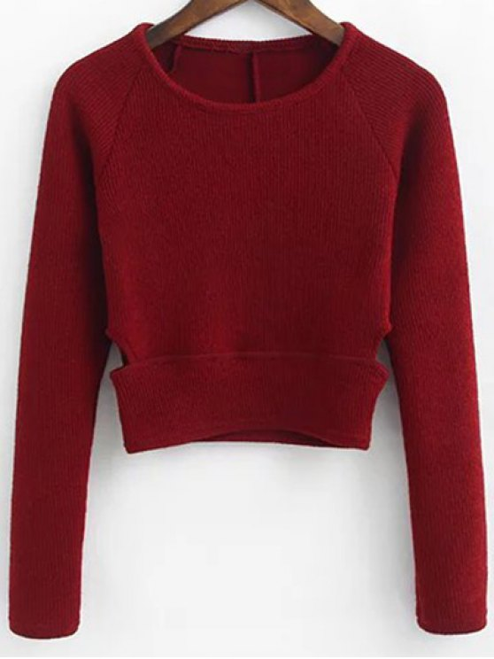 Pullover Sweater and Knit Skirt - WINE RED S Mobile