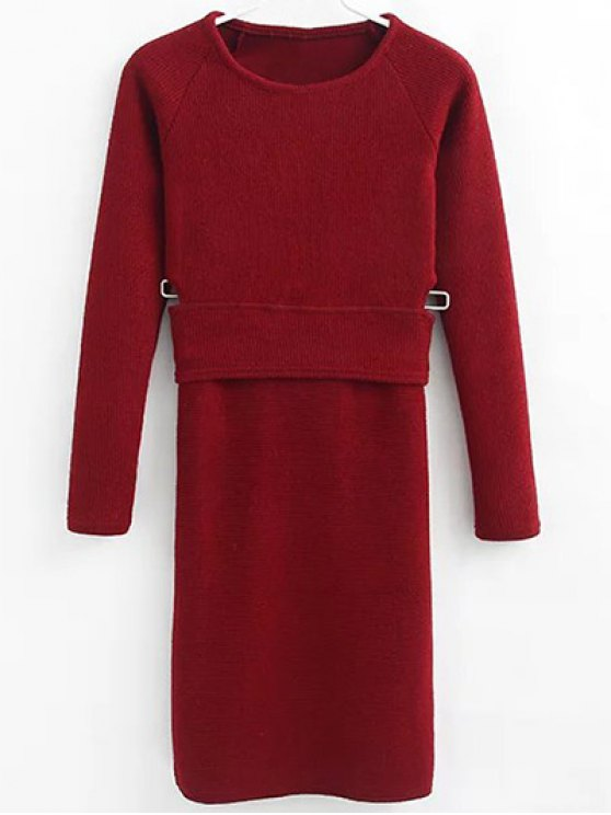 affordable Pullover Sweater and Knit Skirt - WINE RED S