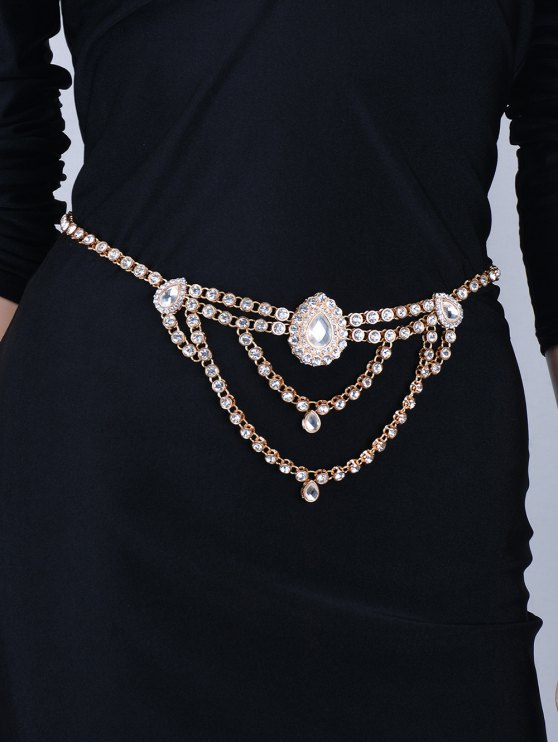 Water Drop Rhinestoned Belly Chain -   Mobile