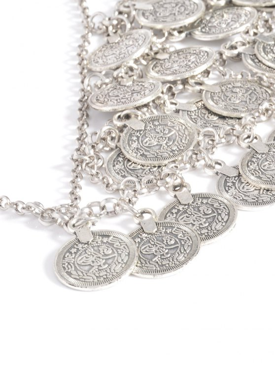 Engraved Coins Alloy Geometric Body Chain - SILVER  Mobile