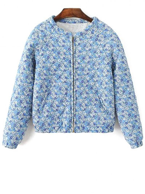 Small Floral Quilted Jacket - BLUE M Mobile