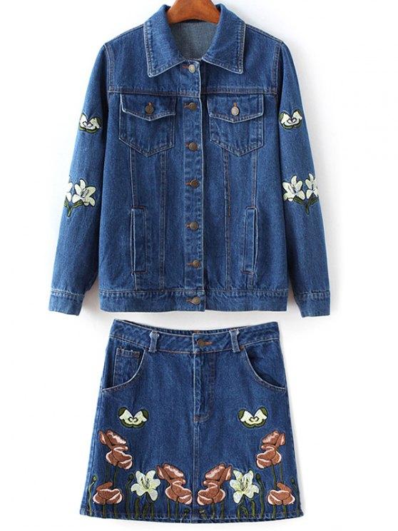 ladies Embroidered Denim Jacket and Skirt - DENIM BLUE S