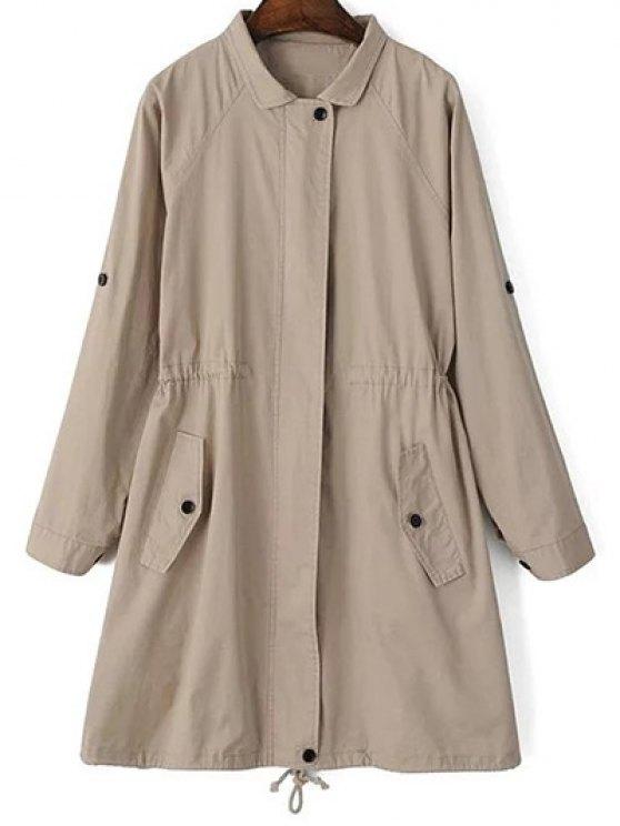 fashion Khaki Trench Coat - KHAKI S