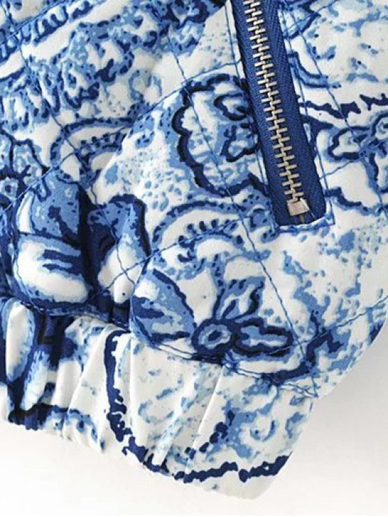 Porcelain Quilted Jacket - BLUE AND WHITE L Mobile